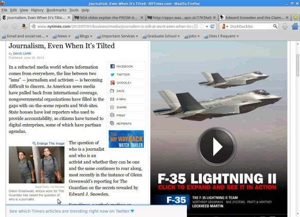 "F-35 ad next to a NYT article about ""journalistic objectivity"""